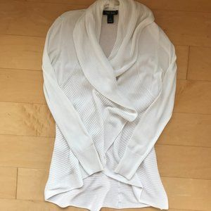 White Shawl Collar Cardigan